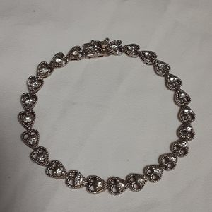 Sterling Silver and CZ Heart Bracelet